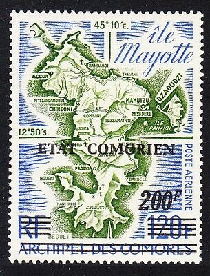 Comoro Is. Overprint 'Etat Comorien' 200 Fr on 120 Fr Map SC#C90 MI#242