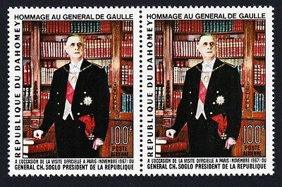 Dahomey Homage to General de Gaulle 1v pair SG#309