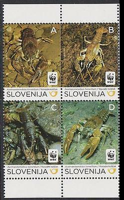Slovenia WWF Stone Crayfish block of 4 MI#904-07
