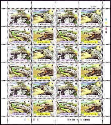 Panama WWF American Crocodile Sheetlet of 6 sets / 24v SG#1590/93 SC#846 a-d
