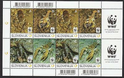 Slovenia WWF Stone Crayfish Sheetlet of 2 sets /8v MI#904-07