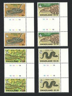 Swaziland Snakes 4v Gutter Pairs with Letters SG#746/49 SC#652-55