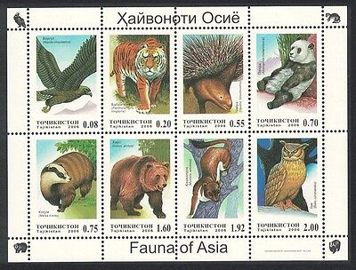 Tajikistan Eagle Tiger Owl Wild Animals Sheetlet of 8v SG#MS311
