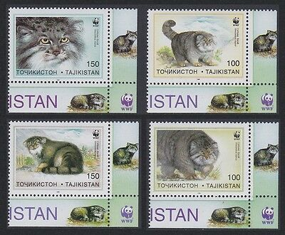 Tajikistan WWF Pallas's Cat 4v Bottom Right Corners with margins SG#90/93