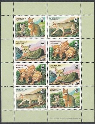 Tajikistan WWF Reed Cat Sheetlet of 2 sets / 8 stamps SG#189/92 SC#185 a-d