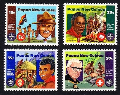 Papua NG 75th Anniversary of Boy Scout Movement 4v SG#426/49 SC#554-57