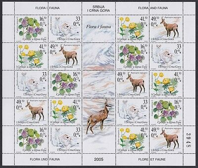 Serbia and Montenegro Flora and Fauna 05 Sheetlet SG#112/15