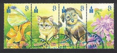Mongolia Kitten Puppy Butterfly Flowers strip of 4v canc SG#3044