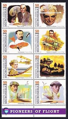 Micronesia Pioneers of Aviation 2nd Series Vertical Block of 8 SG#322/29 SC#178