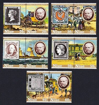 Niue Death Centenary of Sir Rowland Hill 5 pairs SG#284/93 SC#241-45