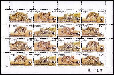 Nigeria WWF Side-striped Jackal Sheetlet of 4 sets SG#809/12 SC#759-62 MI#762-65
