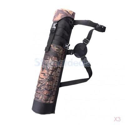 3x Outdoor Hunting Back Arrow Quiver Archery Bow Arrow Holder Bag Camouflage