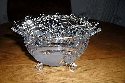 Large Antique Victorian Design Cut Class Rose Bowl with Frog.