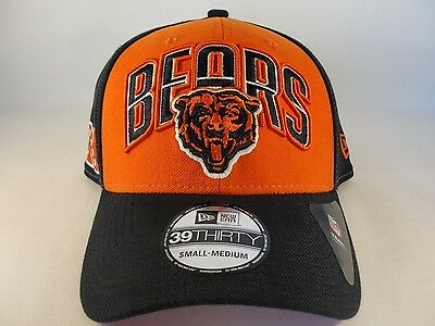 NFL Chicago Bears New Era 39THIRTY Flex Hat Draft Cap Size S M Orange Navy 72f41d9a2