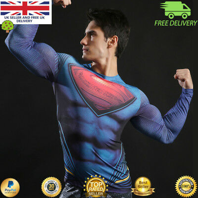 Compression top gym superhero avengers marvel muscle superman MMA BJJ Mens