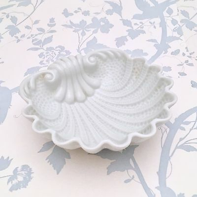 Vintage Limoges Porcelain Shell Dish, Rococo Style in White, ca 1940's