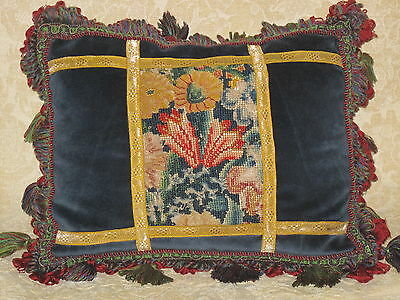 Colorful 18Th C. Abstract Floral Needlepoint Tapestry Pillow ~ Woolwork Sampler