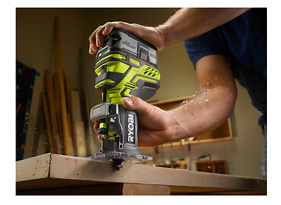 Ryobi One Cordless Trim Router 18v Tool Fixed Base Woodworking Table (Bare Tool)