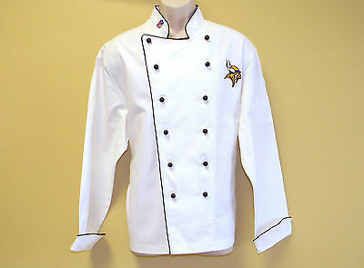 New Nfl Minnesota Vikings Premium Chef Coat 100% Cotton L Size Football Chief