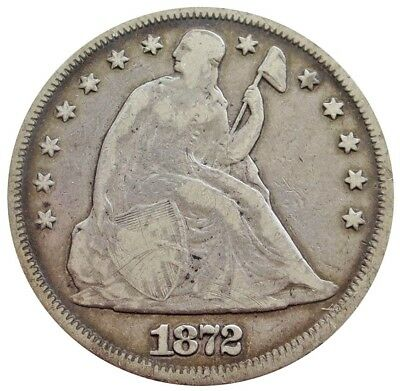 1872 Silver United States Seated Liberty Dollar Coin Fine Condition