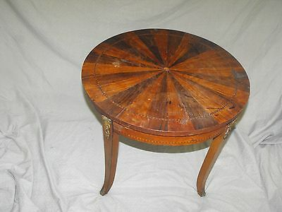 Antique 19th C. French Inlaid Marquetry Sunburst Side Table w/ Bronze Mounts