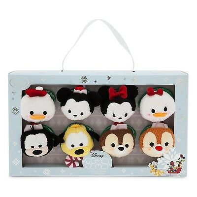 "NEW AUTHENTIC Disney Store 2015 Holiday Christmas 3.5"" Mini Tsum Tsum Set Of 8"