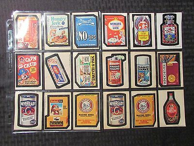1970's Vintage WACKY PACKAGES Topps Stickers FN-/FN LOT of 18 Koduck Neveready