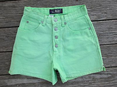 Vintage 80s High Waist Denim Shorts Neon Green LA Blues 6