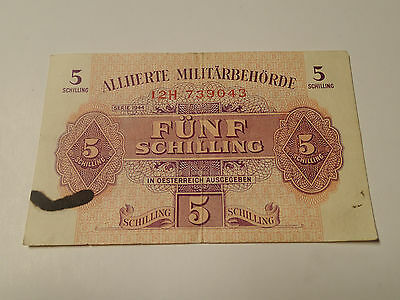 Austria - 5 Shilling Bill, Banknote, Currency, Paper Money 1944 Military WWII
