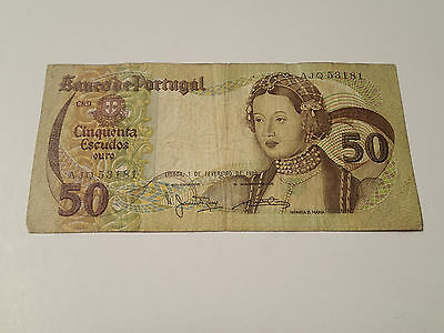 Portugal - 50 Escudos bill, Banknote, Currency, Paper Money 1980
