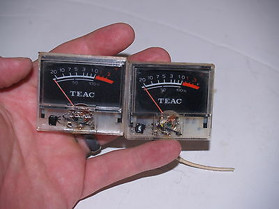 Pair of Original Teac 4070G Reel To Reel Tape Recorder Meter dial Gauge