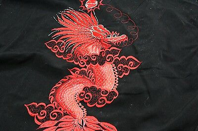 Embroidered Dragon Black Red Back Panel Satin Knot Tie Shirt Jacket Medium