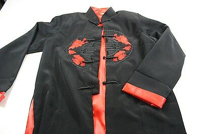 Thu Van Stitched Asian Dragon Satin Jacket Shirt Medium M