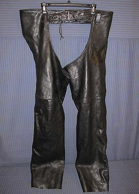 X Element Black Leather Motorcycle Chaps, Men's Size 36 Leathers, NICE