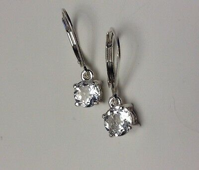 Sterling Silver Round Cut Natural White Topaz Dangle Leverback Earrings 2.00CTW