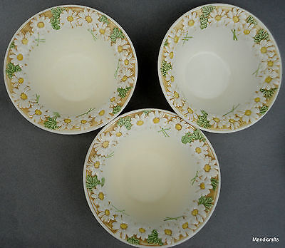 Metlox Rimmed Deep Cereal Bowl x 3 Sculptured Daisy 7in Poppytrail Calif 1970s