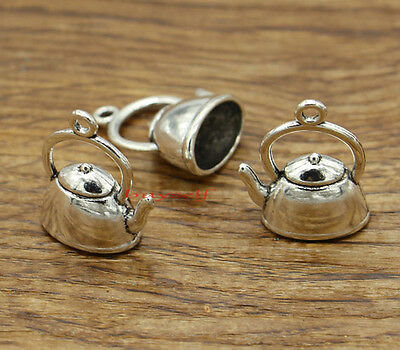 2 Coffee Charms Antique Silver Tone 3D with Heart SC4723