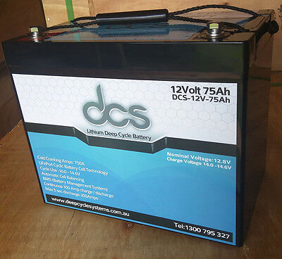 DCS 12V 75AH Lithium Iron (LiFePo4) Deep Cycle Battery Solar 4WD Caravan