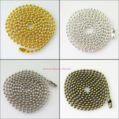 2Strands Ball Chain Necklace 2.4mm beads w/connector 80cm