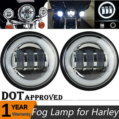 "2X 4.5"" LED Passing Light Halo Ring DRL Motorcycle Daymaker for Harley Davidson"