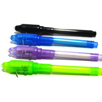 4X2 in 1 Invisible Ink Pen With Black Light UV Magic Secret Message Marker Spy
