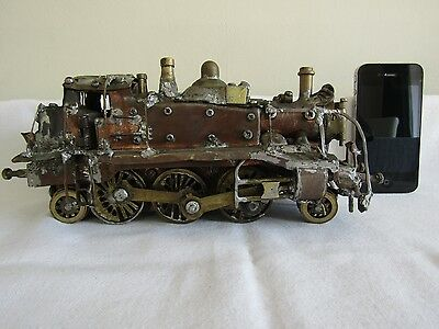 Vintage Hand Crafted Model Train Locomotive-Unique-One Off Model Copper Train
