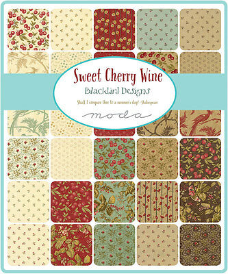 Patchwork/quilting Fabric Moda Charm Squares/packs -Sweet Cheery Wine