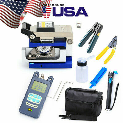 18PC Fiber Optic FTTH Tool Kit w/FC-6S Cleaver Optical Power Meter Visual Finder