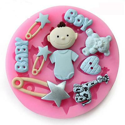 BABY SHOWER BABY BOY Party 3D Silicone Mould Fondant Cake Decorating Topper