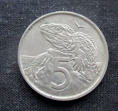 5 Cents New Zealand 1967 Tuatara Lizard #5180