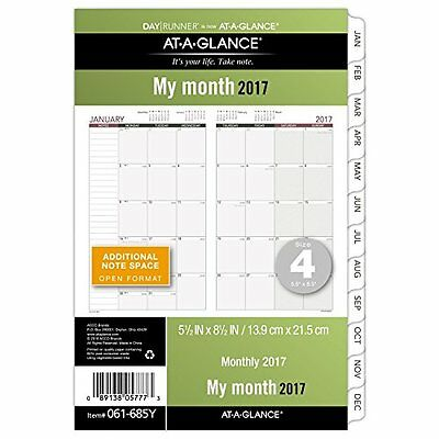 "5.5X8.5"" Day Runner Loose-Leaf Monthly Planner Calendar Organizer Refill 2017"