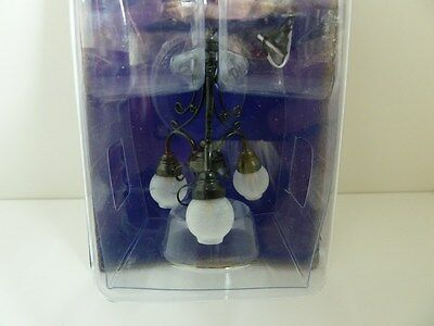Dolls House Miniature 1:12th Scale Lighting Black 3 Arm Chandelier (LT6104)