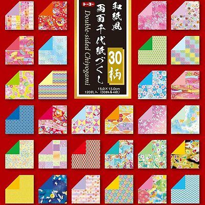 Toyo Origami Washifu Double-Sided Chiyogami, 30 Patterns Ryoumen Chiyogami 15 cm