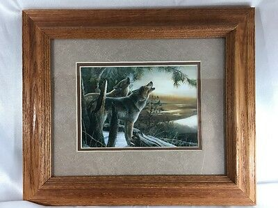 Picture 8x10 Wolf Wood Frame Wolf Howling